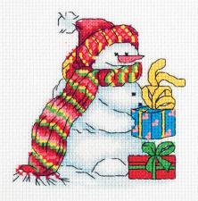 """Набор для вышивания Кларт """"Снеговичок"""". Размер - 12,5 х 13 см."""