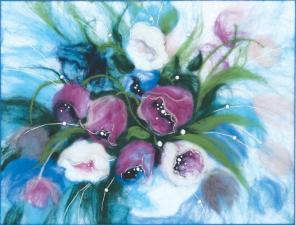 """Набор для валяния картины """"Утренние тюльпаны"""". Размер - 31,5 х 24 см."""