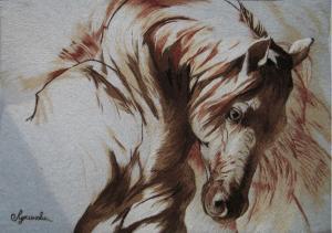 """Набор для вышивки гладью """"Конь.Сепия"""". Размер - 29 х 20 см."""