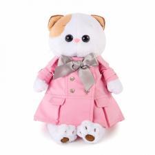 Кошечка Ли-Ли в розовом плаще с серым бантиком, мягкая игрушка BudiBasa
