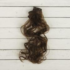 """Волосы-тресс для кукол """"Кудри"""" длина волос 40см, ширина 50см №9,каштановый"""