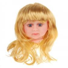 """Парик для кукол """"Прямые волосы,с чёлкой"""",размер большой,цвет блонд,диаметр 12 см"""