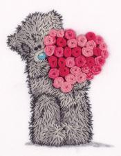 Tatty Teddy с сердцем из роз.Размер - 12 х 15,5 см.