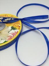 Лента атласная с рисунком мелкий горох,6 мм,цвет 040 (синий+белый)