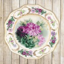 """Набор для вышивания """"Тарелка с хризантемами.Гладь"""". Размер - 21 х 21 см."""