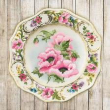 "Набор для вышивания ""Тарелка с розовыми маками.Гладь"". Размер - 21 х 21 см."