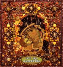 Образа в каменьях | Богородица Владимирская. Размер - 17 х 18 см.