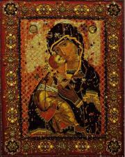 Образа в каменьях   Владимирская Божья Матерь (храмовая икона). Размер - 37,5 х 49 см.