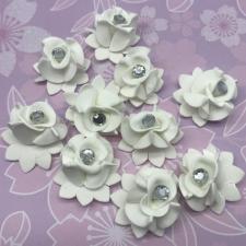 Цветы из фоамирана со стразами,3 см,10 шт,арт.СВК-1,белый