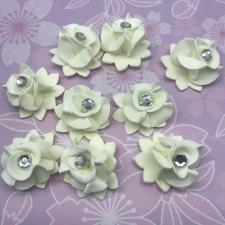 Цветы из фоамирана со стразами,3 см,10 шт,арт.СВК-1,айвори