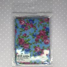 Бязь,розы на синем фоне,50х50 см.