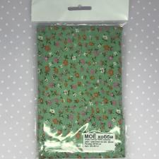Ситец,мелкие цветочки на зелёном фоне,40х60 см.
