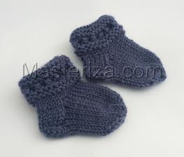 Вязаные носочки для куклы,5 см,цв.джинс