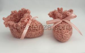 Вязаные пинетки для куклы,7 см,цв.грязно-розовый