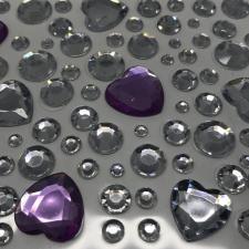"""Стикер """"Клеевые стразы круглые и сердечки"""",серебро/фиолет"""