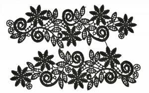 Лейсы пришивные,цв.чёрный,25х7 см,компл.2шт