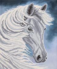 Белогривая лошадь. Размер - 26 х 31 см.