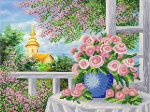 Розы у окна. Размер - 35 х 26 см.