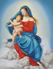 Картины бисером | Дева Мария с младенцем. Размер - 29 х 40 см.