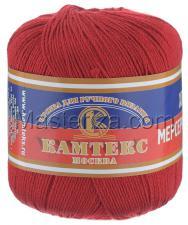 Пряжа Хлопок мерсеризованный. Цвет 046 (красный)