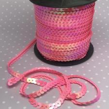 Пайетки на нитях,6 мм,цв.розовый перламутровый (№1)