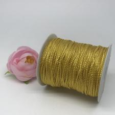 Шнур декоративный плетёный с люрексом,круглый,2мм,жёлтый/золото(золото №1),100 ярдов (91,44 м)