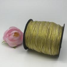 Шнур декоративный плетёный с люрексом,круглый,2мм,белый/золото(золото №2),100 ярдов (91,44 м)
