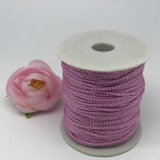 Шнур декоративный плетёный с люрексом,круглый,2мм,розовый/серебро (№5),100 ярдов (91,44 м)