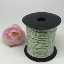 Шнур декоративный плетёный с люрексом,круглый,2мм,серо-зелёный/серебро (№11),100 ярдов (91,44 м)