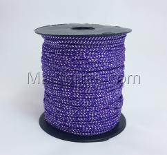 Шнур декоративный плетёный с люрексом,круглый,2мм,фиолетовый/серебро (№12),100 ярдов (91,44 м)