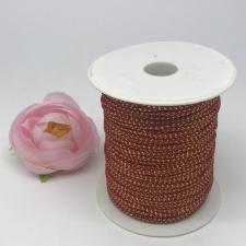 Шнур декоративный плетёный с люрексом,круглый,2мм,красный/золото (№13),100 ярдов (91,44 м)