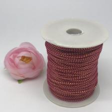 Шнур декоративный плетёный с люрексом,круглый,2мм,малиновый/золото (№14),100 ярдов (91,44 м)