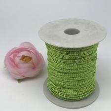 Шнур декоративный плетёный с люрексом,круглый,2мм,кислотный зелёный/золото (№15),100 ярдов (91,44 м)