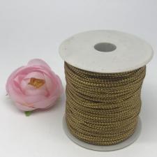 Шнур декоративный плетёный с люрексом,круглый,2мм,светло-коричневый/серебро (№16),100 ярдов (91,44 м)