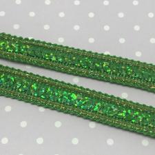Декоративная тесьма с пайетками,12мм,цв.зелёный