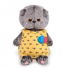 Басик BABY в жёлтом комбинезоне с рыбкой, мягкая игрушка BudiBasa