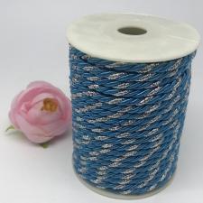Шнур витой декоративный двухцветный,5 мм,цвет голубой/серебро (№18)