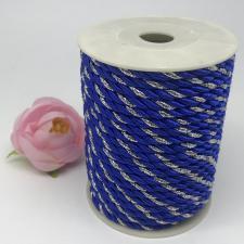 Шнур витой декоративный двухцветный,5 мм,цвет синий/серебро (№21)