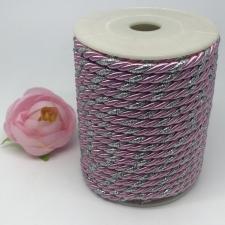 Шнур витой декоративный двухцветный,5 мм,цвет розовый/серебро (№23)