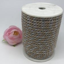Шнур витой декоративный двухцветный,5 мм,цвет бежевый/серебро (№24)
