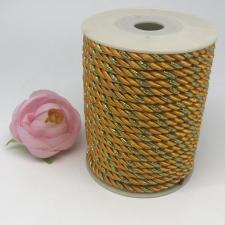 Шнур витой декоративный двухцветный,5 мм,цвет жёлтый/золото (№25)
