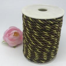 Шнур витой декоративный двухцветный,5 мм,цвет коричневый/золото (№26)