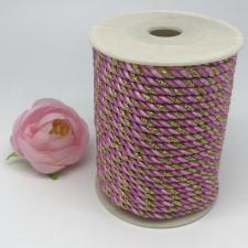 Шнур витой декоративный трёхцветный,5 мм,цвет розовый/светло-розовый/золото (№31)