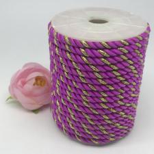 Шнур витой декоративный двухцветный,5 мм,цвет лиловый/золото (№32)
