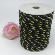 Шнур витой декоративный двухцветный,5 мм,цвет чёрный/золото (№33)