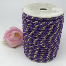 Шнур витой декоративный двухцветный,5 мм,цвет фиолетовый/золото (№35)