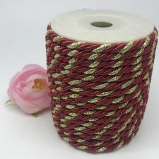 Шнур витой декоративный двухцветный,5 мм,цвет бордовый/золото (№37)