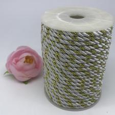Шнур витой декоративный двухцветный,5 мм,цвет белый/золото (№38)