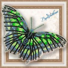"""Набор для вышивки бисером на прозрачной основе """"Бабочка """"Малахитовая"""""""""""