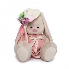 Зайка Ми в бледно-розовом платье и шляпке с цветами, мягкая игрушка BudiBasa